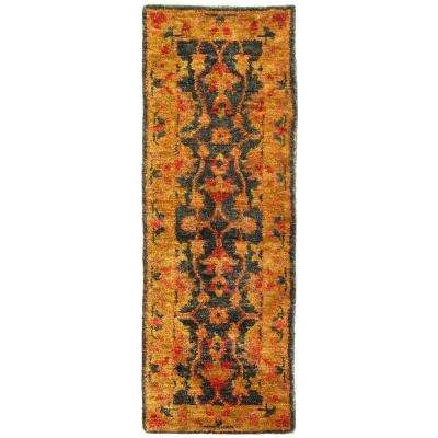 Bohemian Charcoal/Gold 3 ft. x 8 ft. Runner Rug