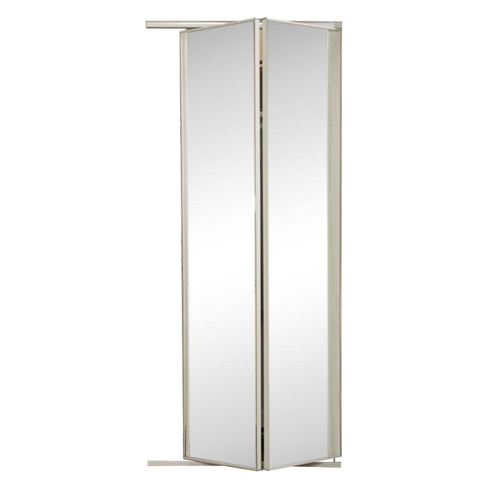 24 In X 80 1 2 Brittany Anodized Mirror Lite White Steel Bi Fold Door The Home Depot