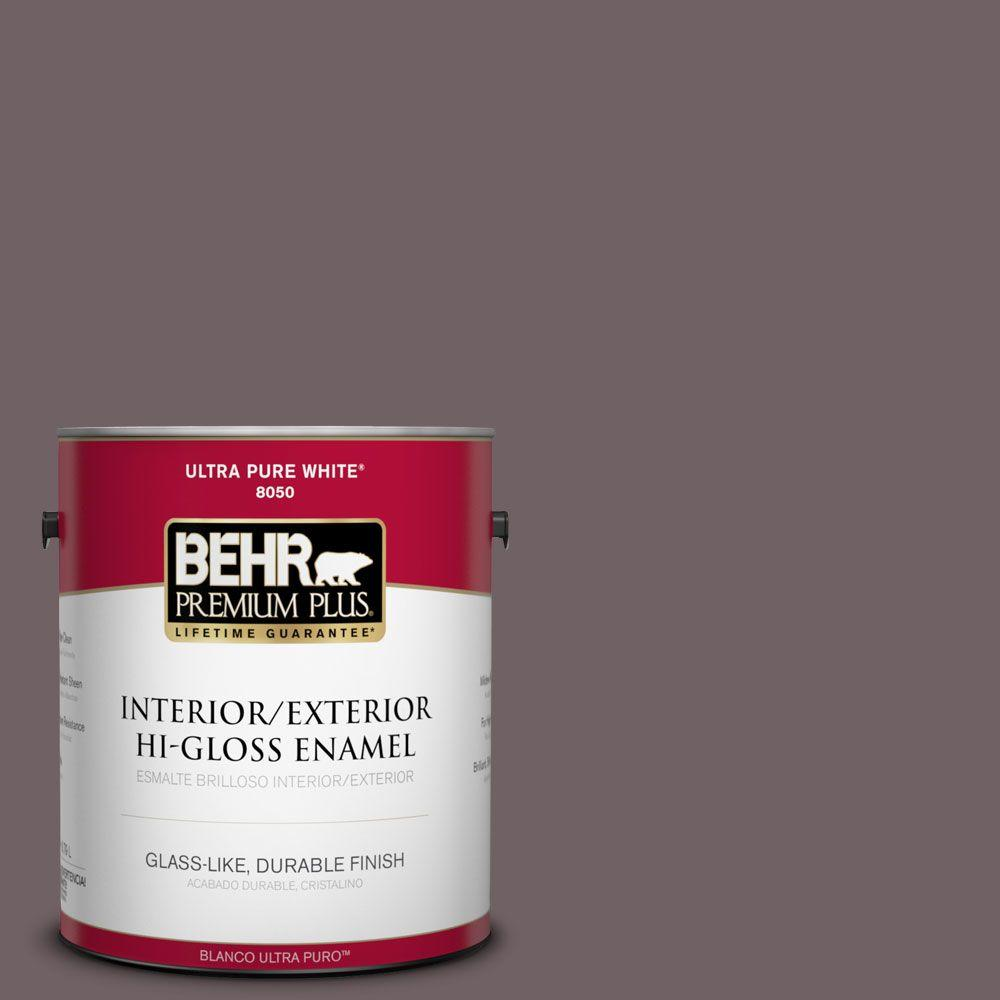 BEHR Premium Plus 1-gal. #N110-6 Dignified Purple Hi-Gloss Enamel Interior/Exterior Paint
