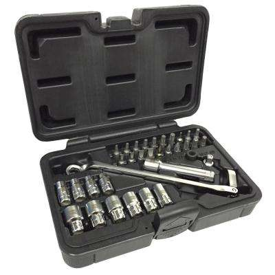 Go-Through Socket Set and Wrench 1/2 in. Drive Flexible Ratchet in Molded Case (34-Piece)