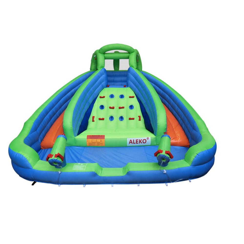 Aleko Island Water Slide Bounce House With Climbing Wall And Blower Bhmriver Hd The Home Depot