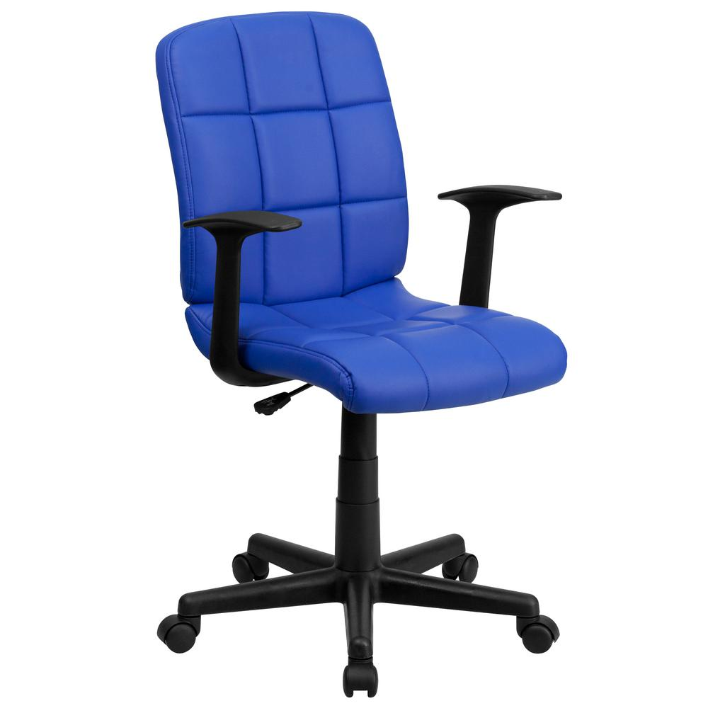 Superbe Flash Furniture Mid Back Blue Quilted Vinyl Swivel Task Chair With Nylon  Arms