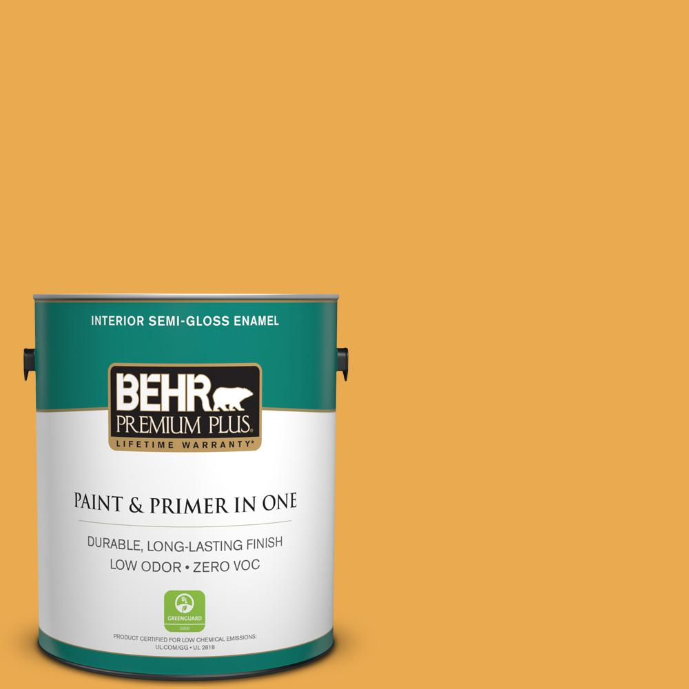 1-gal. #BIC-43 Optimist Gold Semi-Gloss Enamel Interior Paint