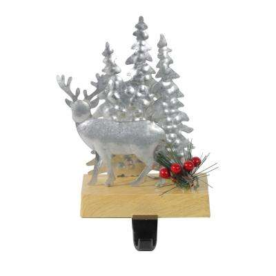 8.5 in. Galvanized Metal Deer and Trees Christmas Stocking Holder