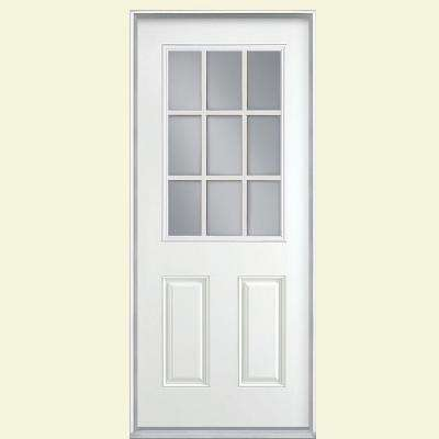 32 in. x 80 in. 9 Lite Right-Hand Inswing Primed White Smooth Fiberglass Prehung Front Door, Vinyl Frame