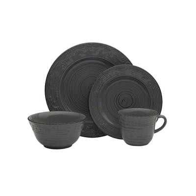 16-Piece Trellis Gray Dinnerware Set