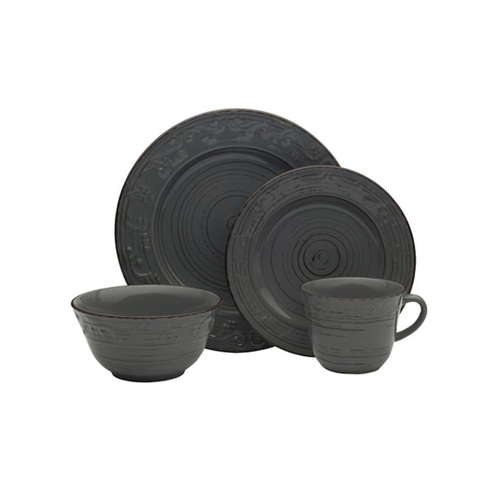 16-Piece Trellis Gray Dinnerware Set
