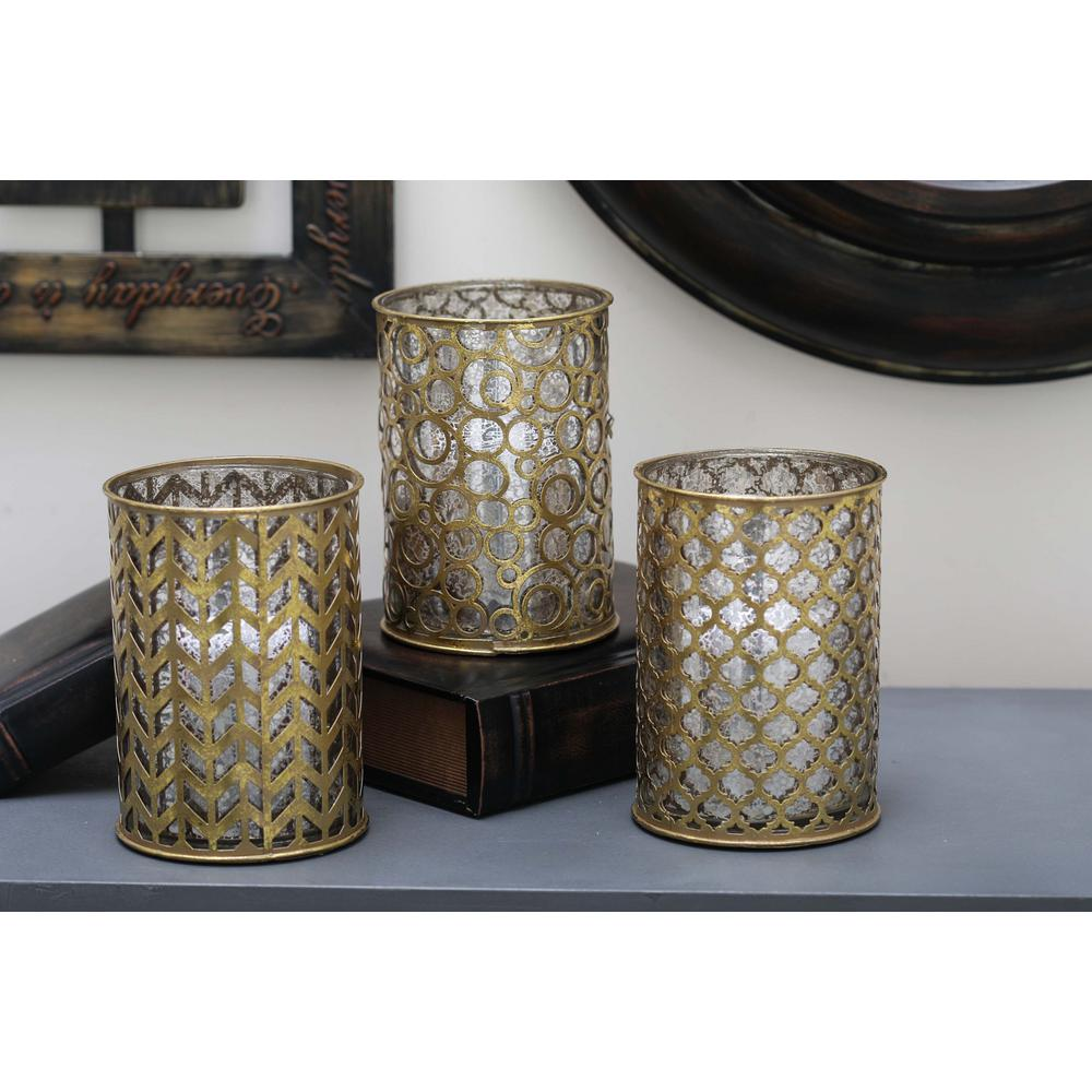 7 in. Traditional Gold-Finished Mosaic Glass Candle Holders (Set of 3)