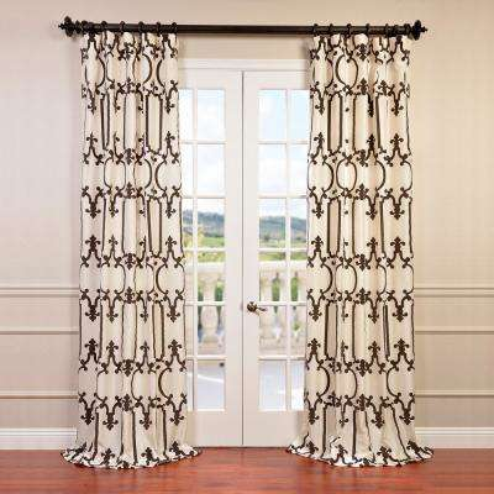 Royal Gate Ivory Flocked Faux Silk Taffeta Curtain - 50 in. W x 120 in. L