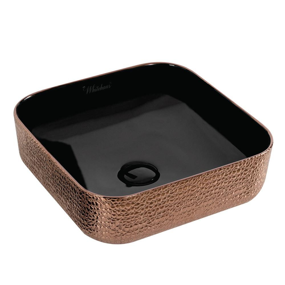 Whitehaus Collection Isabella Plus Collection Square Above Mount Vessel Sink  In Black And Rose Gold