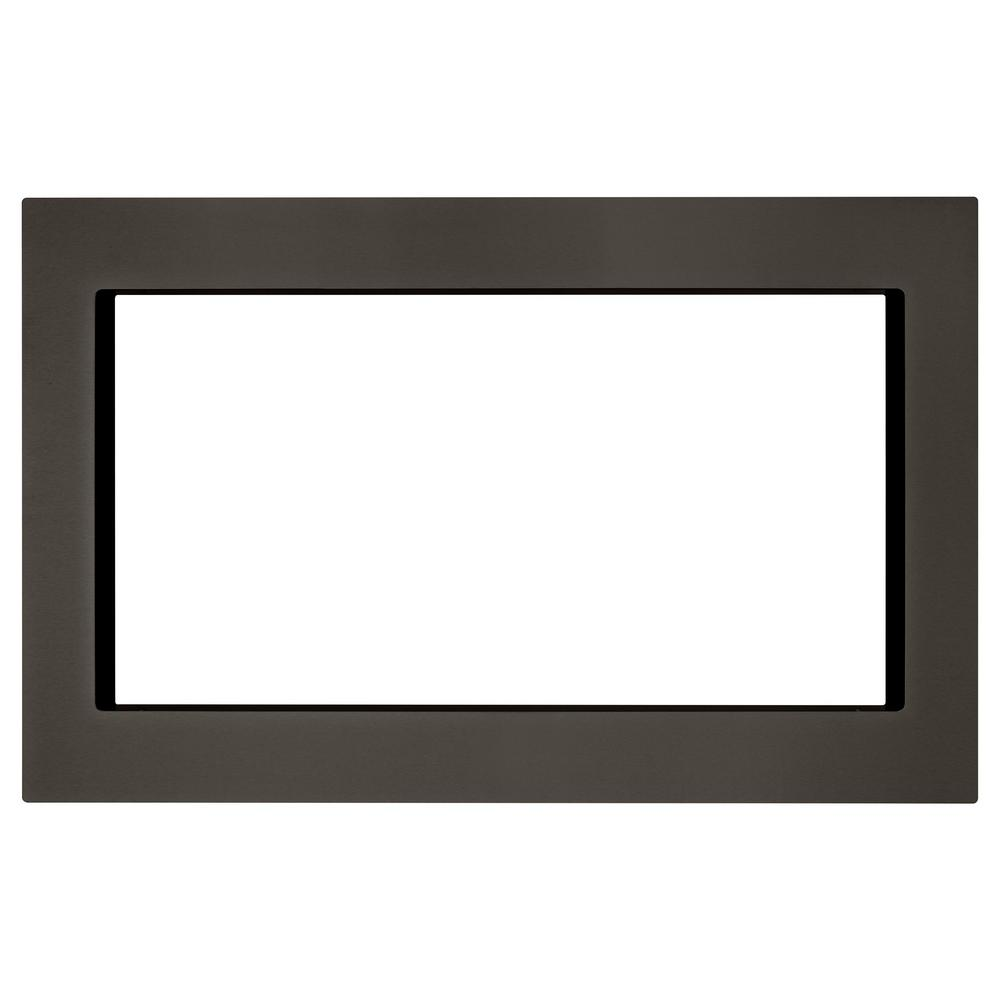 27 in. Microwave Trim Kit in Black Stainless
