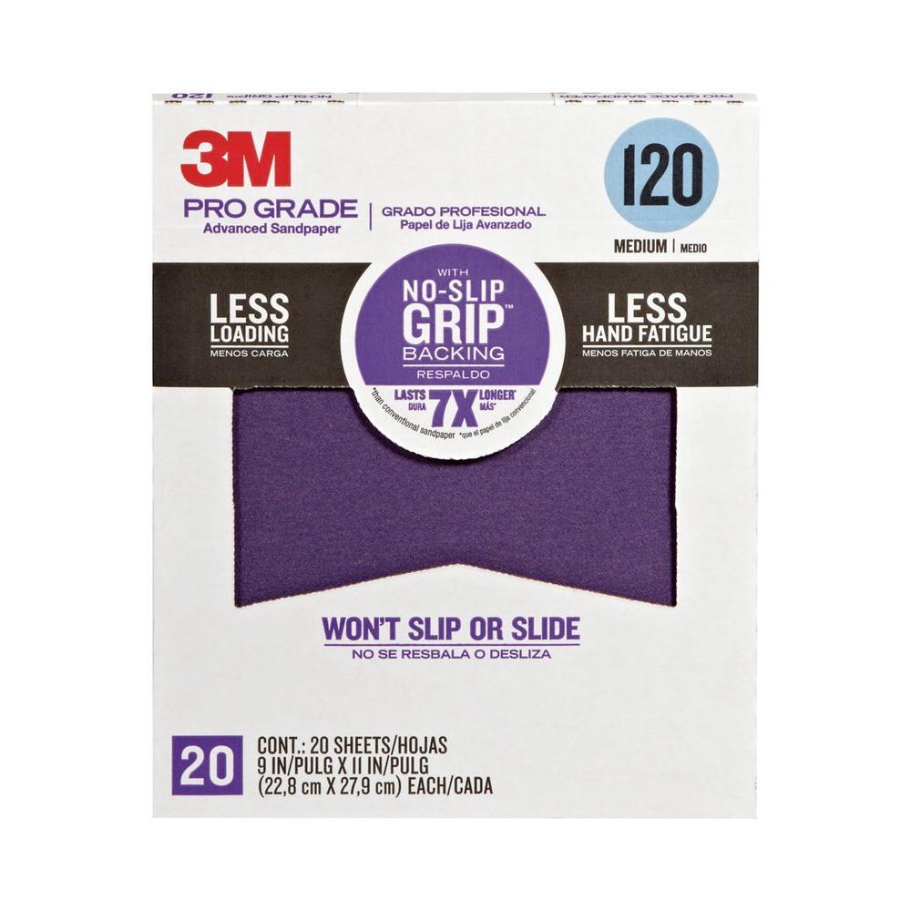 3M Pro Grade 9 in. x 11 in. 120 Grit Medium No-Slip Grip Advanced Sandpaper (20-Pack)