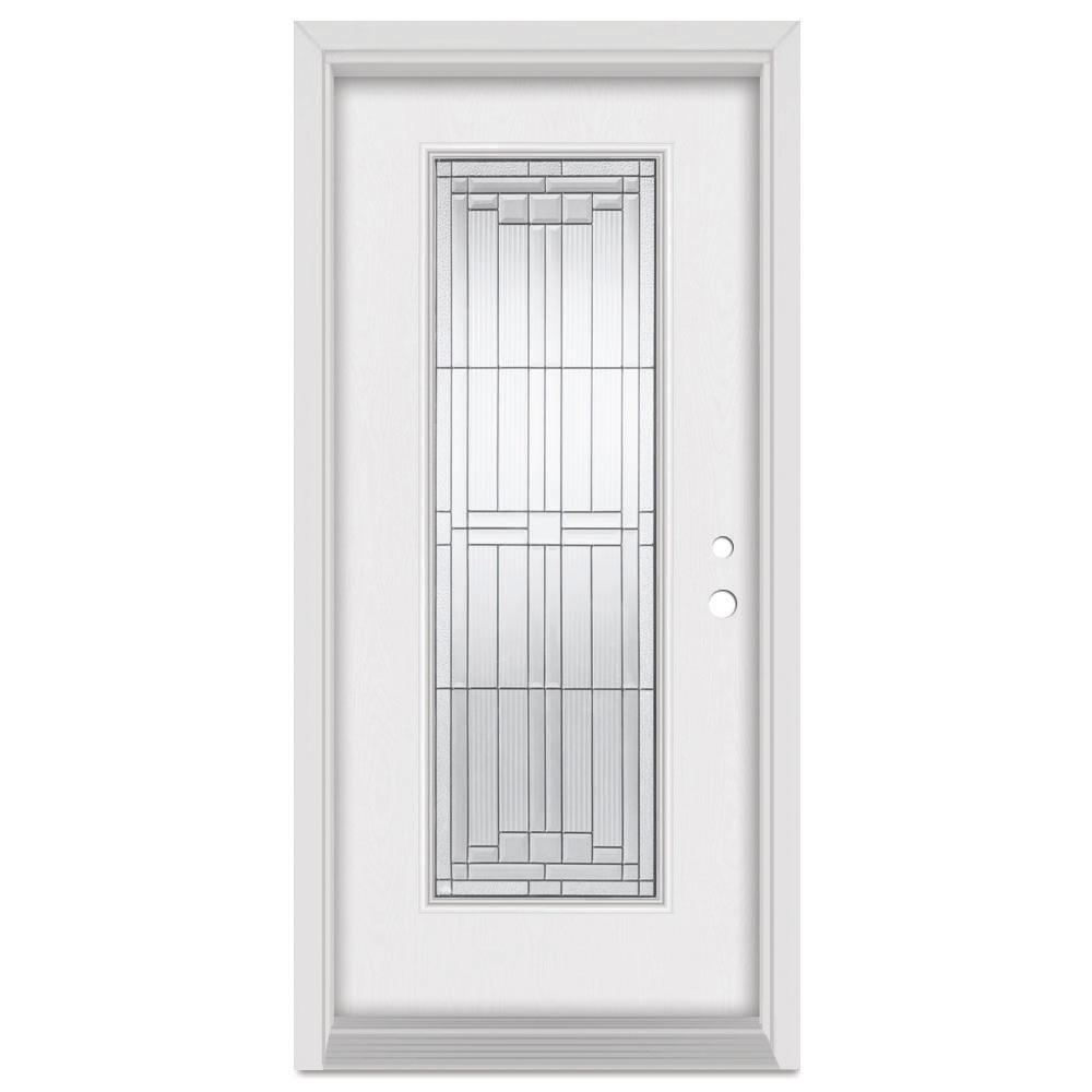 Stanley Doors 36 in. x 80 in. Architect Left-Hand Patina Finished Fiberglass Mahogany Woodgrain Prehung Front Door Brickmould
