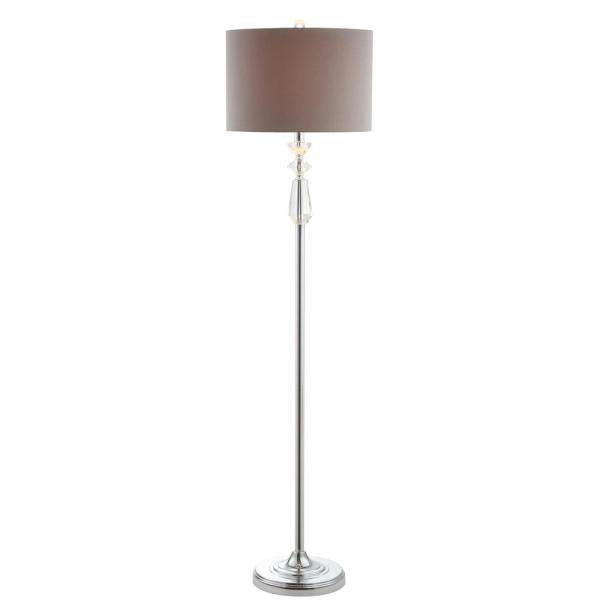 Layla 59.5 in. Clear/Chrome Crystal/Metal Floor Lamp with Gray Shade