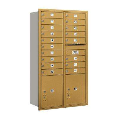 55 in.15 Door High Unit Gold Private Rear Loading 4C Horizontal Mailbox with 18 MB1 Doors/2 PL5's