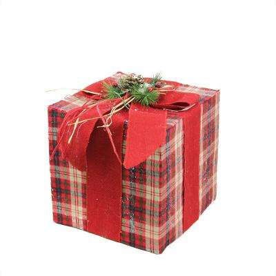 12.5 in. Square Red Brown and Green Plaid Gift Box with Pine Bow Table Top Christmas Decoration