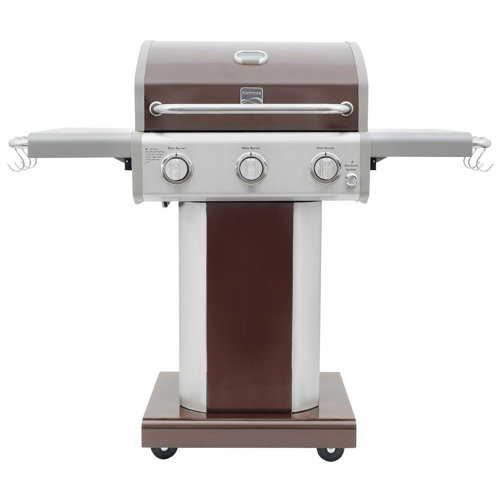 KENMORE 3-Burner Propane Gas Pedestal Grill w/ Folding Side Shelves in Mocha w/ 4-Wheels