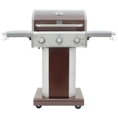 3-Burner Propane Gas Pedestal Grill with Folding Side Shelves in Mocha with 4-Wheels