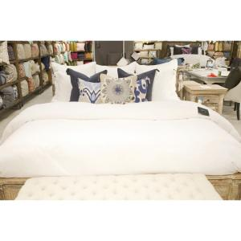 Harlow White Linen Blend King Duvet Cover by