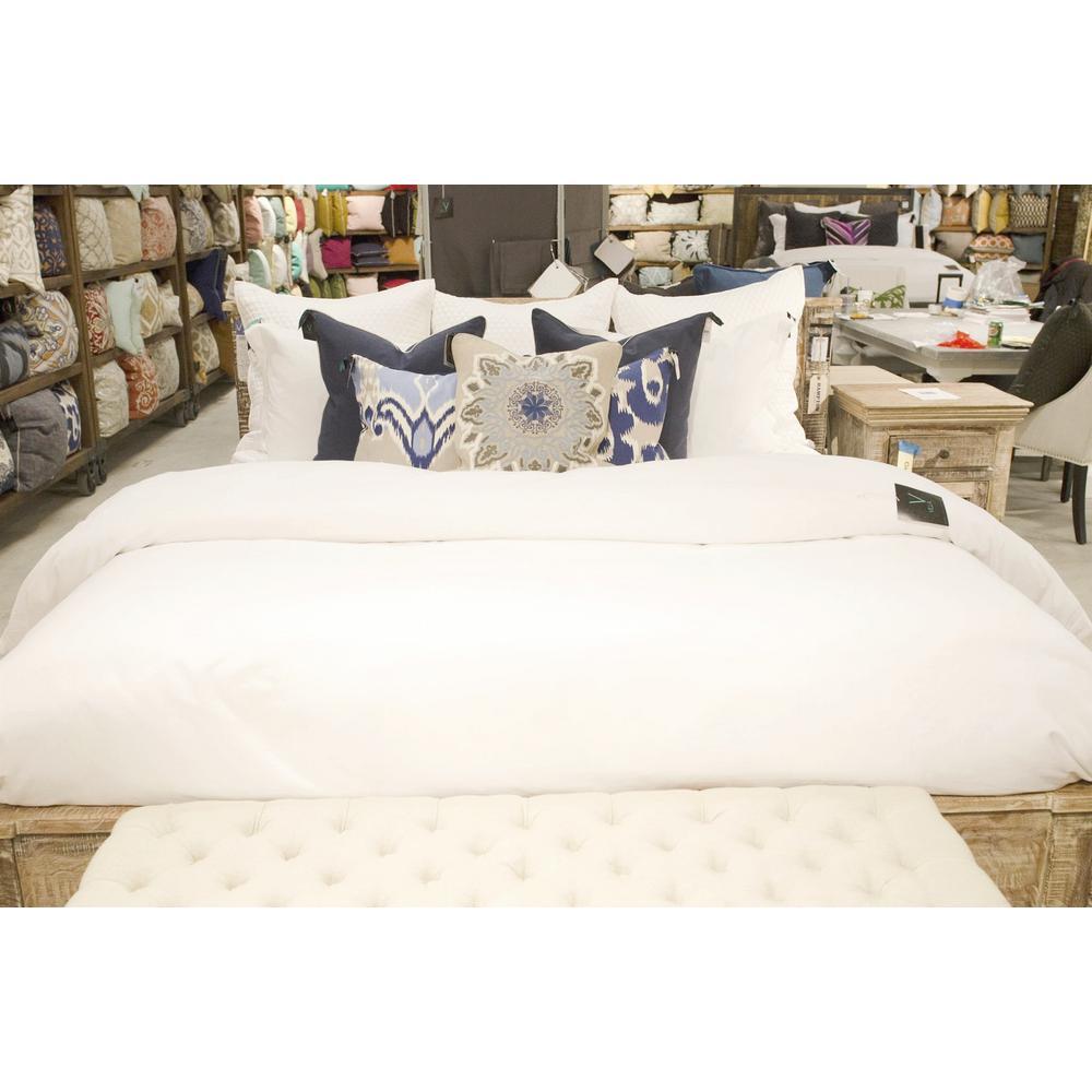 Harlow White Linen Blend King Duvet Cover