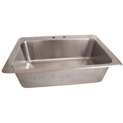 28 in. x 16 in. x 10 in. Deep Drawn Drop-In Sink Deep Bowl Stainless Steel with Drain 8 in. O.C. Deck Mount Faucet Holes