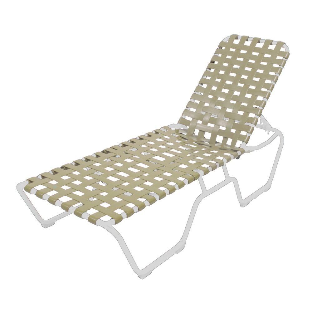 Marco island white commercial grade aluminum patio chaise for Aluminum chaise lounges