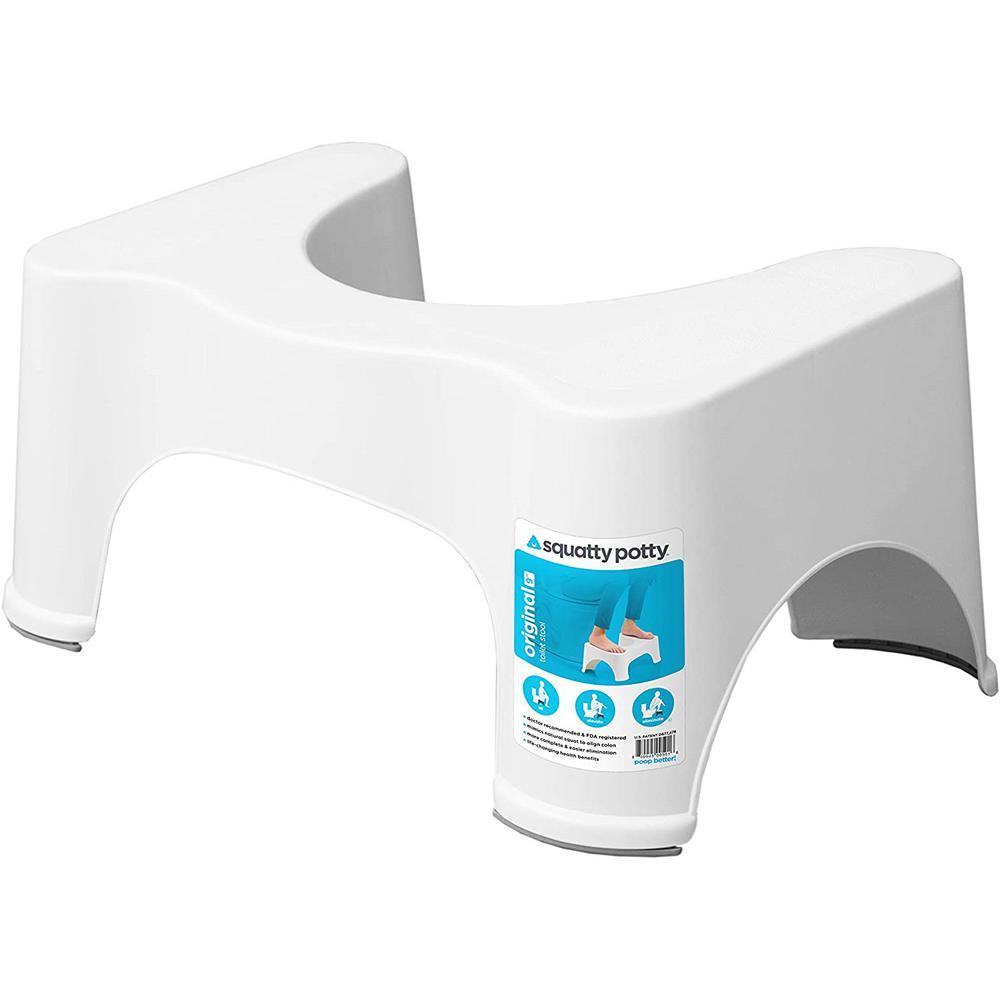9 in. Ecco Plastic Toilet Stool in White