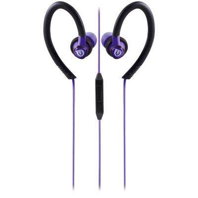 Sports Clip Earbuds with Mic, Purple