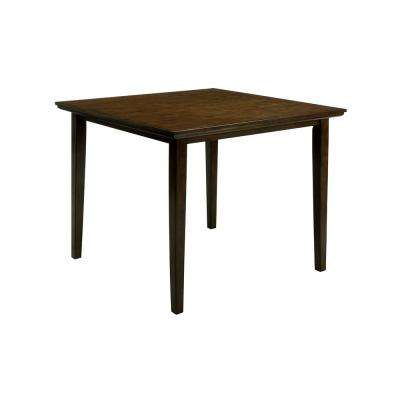 Charlene Walnut and Gray Mid-Century Modern Counter Height Table Set (5-Piece)