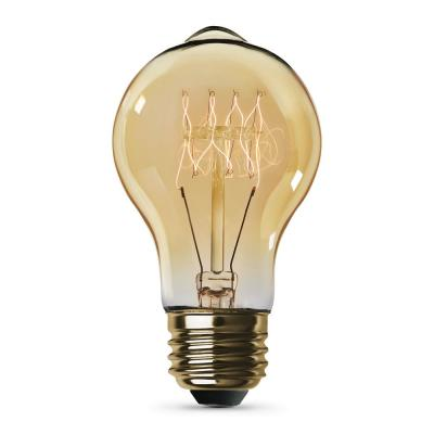 40-Watt AT19 Dimmable Incandescent Amber Glass Vintage Edison Light Bulb With Tungsten Filament Soft White