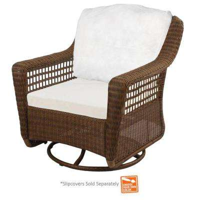 Spring Haven Brown Wicker Outdoor Patio Swivel Rocker Chair with Cushions Included, Choose Your Own Color