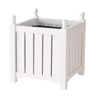 Lexington 14 in. Square White Wood Planter