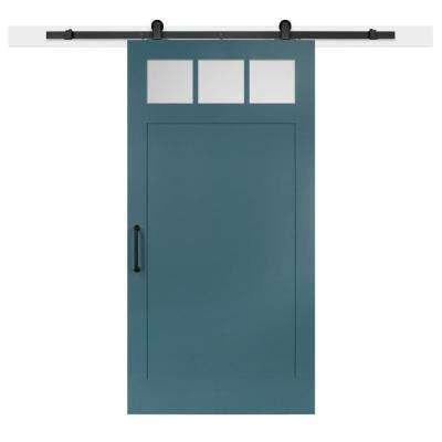 42 in. x 84 in. Pacific Craftsman 3-Lite Clear  Solid-Core MDF Barn Door with Sliding Door Hardware Kit