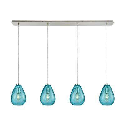 Lagoon 4-Light Linear Pan in Satin Nickel with Aqua Water Glass Pendant