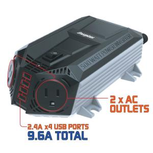 Energizer EN548 500-Watt Power Inverter 12V DC to AC Plus 4 x 2.4A USB charging ports Total 9.6 Amps by Energizer