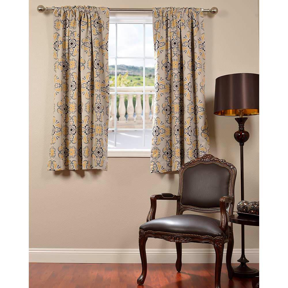 exclusive fabrics furnishings semi opaque soliel yellow grey blackout curtain 50 in w x 63. Black Bedroom Furniture Sets. Home Design Ideas