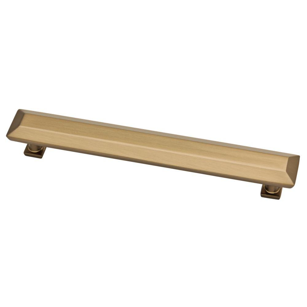 Martha Stewart Living Beveled Square 6-5/16 in. (160mm) Center-to-Center Champagne Bronze Bar Drawer Pull