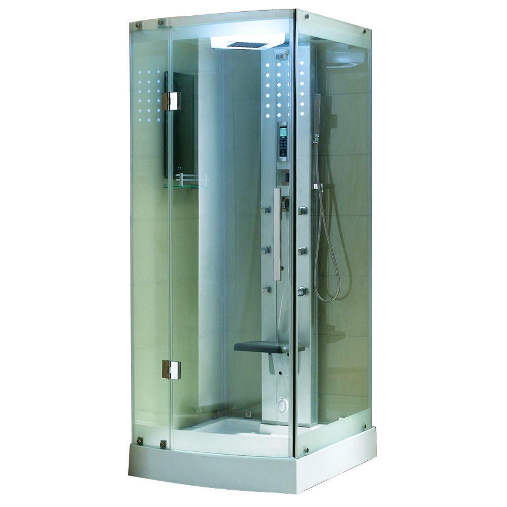 Ariel 36 inch x 36 inch x 85 inch Steam Shower Enclosure Kit in White by Ariel