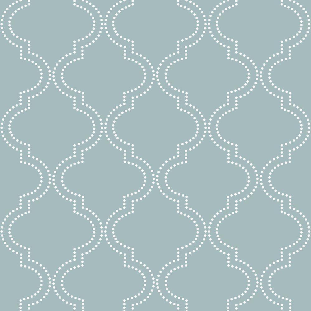 Slate Blue Quatrefoil Vinyl Strippable Wallpaper (Covers 30.75 sq. ft.)