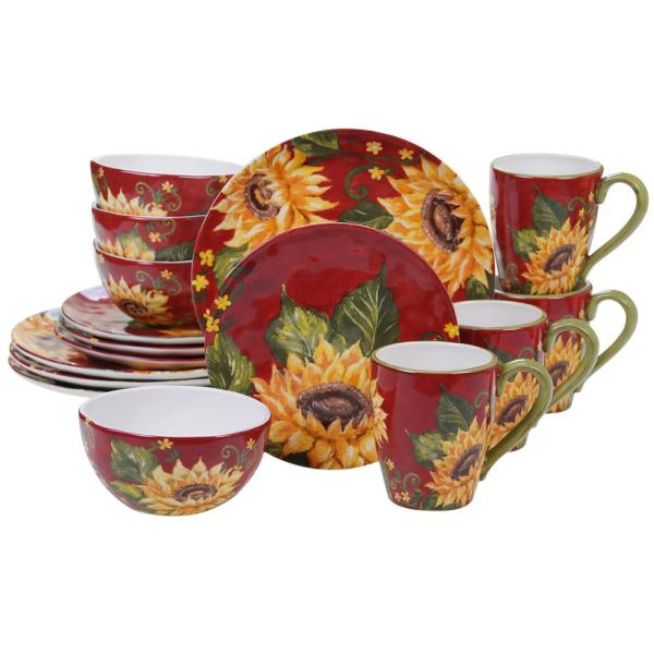 Sunset Sunflower 16-Piece Traditional Multi-color Ceramic Dinnerware Set (Service for 4)
