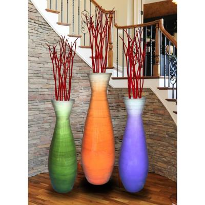Tall Bamboo Floor Vases in Orange, Purple and Green (Set of 3)