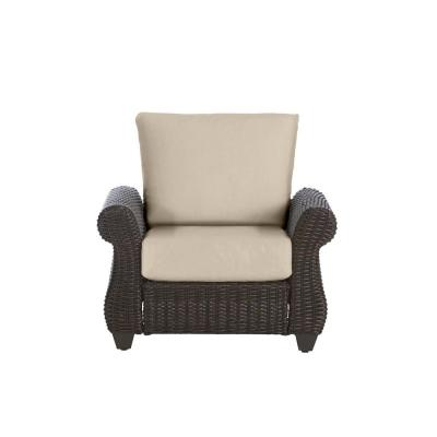 Mill Valley Brown Wicker Outdoor Patio Lounge Chair with CushionGuard Putty Tan Cushions