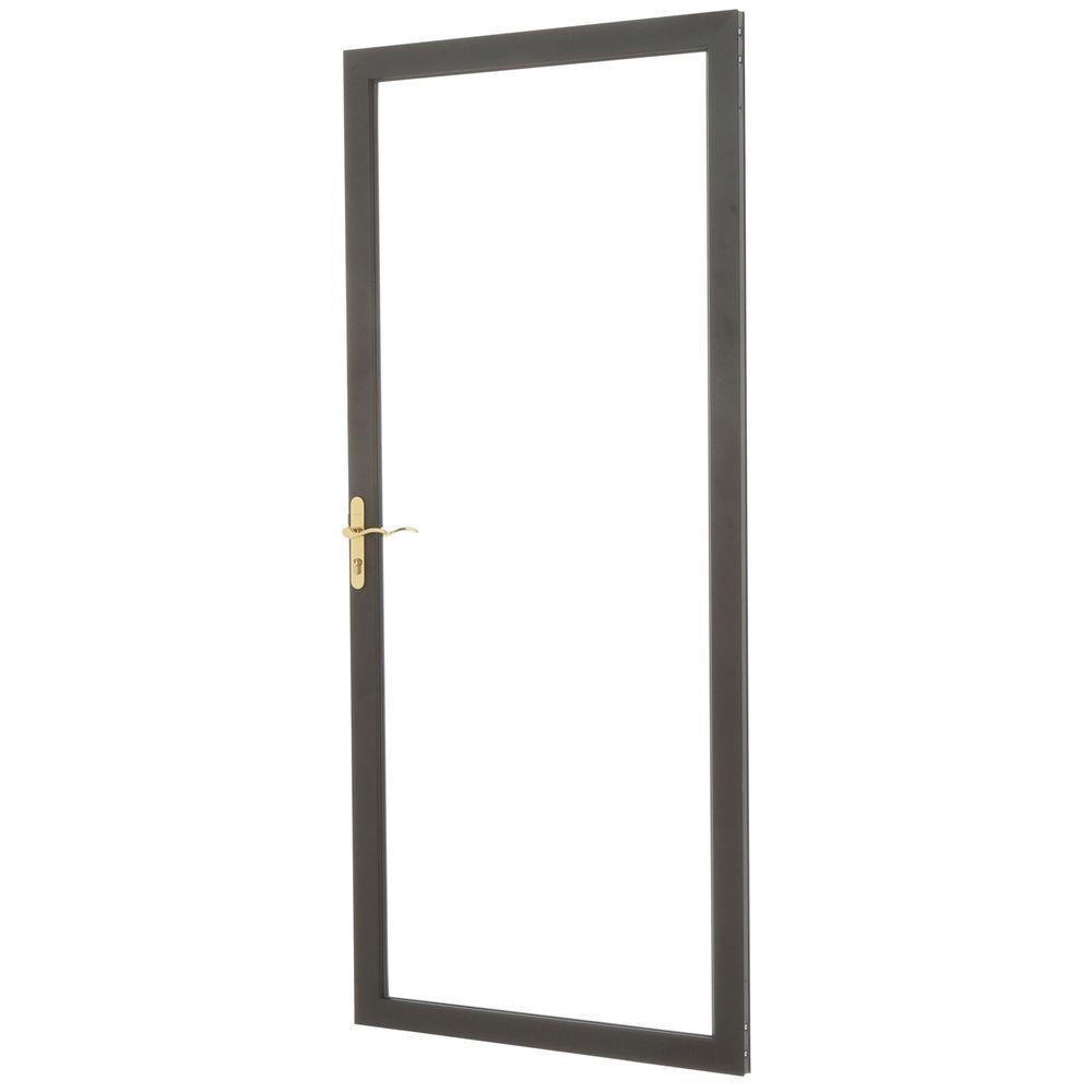 36 in. x 80 in. 2000 Series Bronze Universal Fullview Aluminum Storm Door with Brass Hardware