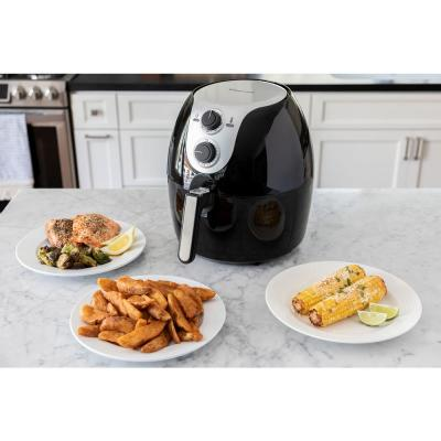 5.6 Qt. Family-Sized XL Manual Air Fryer Healthy Cooking and Dishwasher Safe Basket with Free Recipe Book - Black