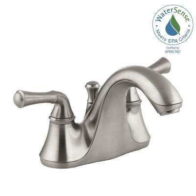 Forte 4 in. Centerset 2-Handle Low-Arc Water-Saving Bathroom Faucet in Vibrant Brushed Nickel