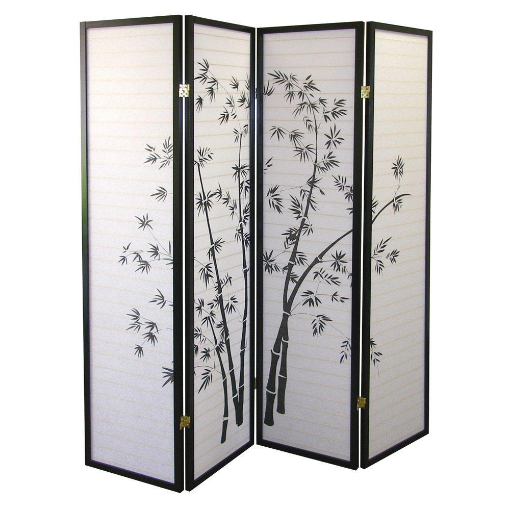 Home Decorators Collection 5.83 ft. Black 4-Panel Room Di...