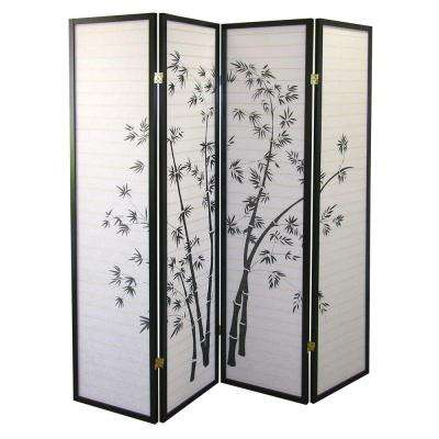 5.83 ft. Black 4-Panel Room Divider