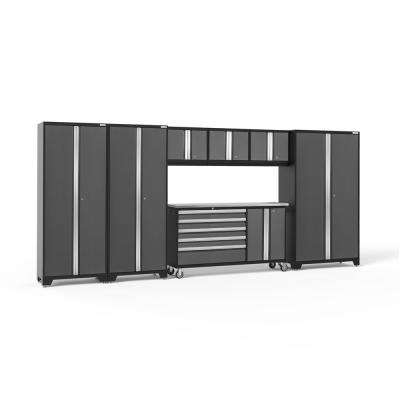 Bold 3.0 77.25 in. H x 174 in. W x 18 in. D 24-Gauge Welded Steel Garage Cabinet Set in Gray (7-Piece)