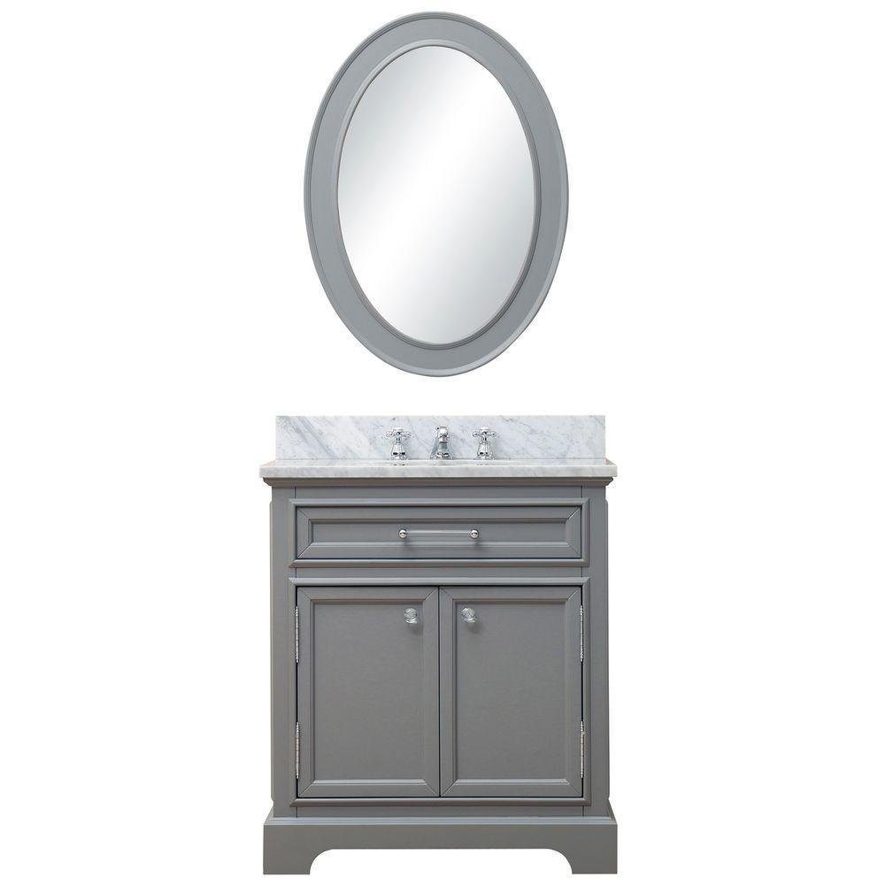 Water Creation 30 in. W x 21.5 in. D Vanity in Cashmere Grey with Marble Vanity Top in Carrara White and Mirror