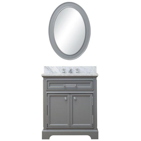 30 in. W x 21.5 in. D Vanity in Cashmere Grey with Marble Vanity Top in Carrara White and Mirror